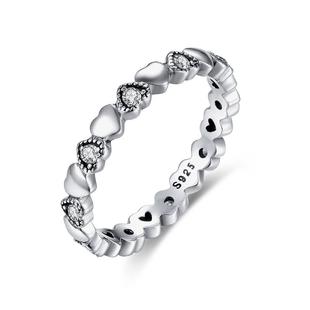Tongzhe 3mm Vintage Love Hearts Eternity Band Ring in Sterling Silver 925 w/Cubic Zirconia[Size 7]