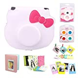 Fujifilm Instant Camera Cheki Instax Mini Hello Kitty INS MINI KIT Polaroid Accessory Bundles Set (Included: White Hello Kitty Ins Mini Kit Polaroid Camera Case / Sweet Time Instax Mini Book Album/ Self-Portrait Mirror/ Colorful Close-Up Lens(Filter)/ Colorful Photo Frame/ Colorful Decor Sticker Borders/ Wall Decor Hanging Frame)