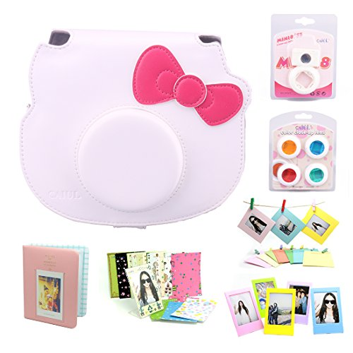CAIUL 7 in 1 Hello kitty Camera Accessories Bundle(White Hello Kitty Case/Mini Album/ Close-Up Selfie Lens/ 4 Colors Close-Up Lens/ Wall Hang Frame/ Film Frame/Film Stickers)