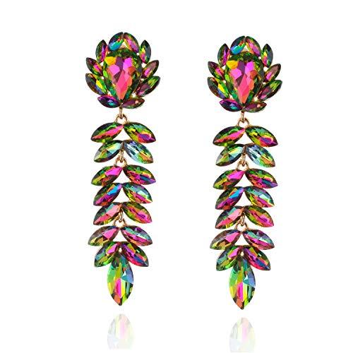 Floral Leaf Drop Crystal Dangle Women's Statement Earrings in Rainbow