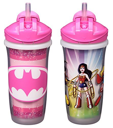 Playtex Sipsters Stage 3 Super Friends Spill-Proof, Leak-Proof, Break-Proof Insulated Straw Sippy Cups for Girls - 9 Ounce - 2 Count