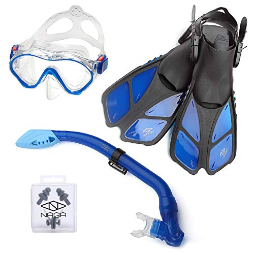 ELEMENTEX Naga Sports Series Kids Snorkel Set with Dry Top Snorkel, Single Lens Mask, Trek Fins, Mesh Bag - XS/XXS Blue