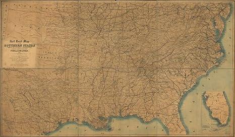 Amazon.com: Civil War Map Reprint: Rail road map of the ...