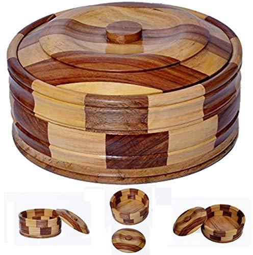 Wood Hub Wooden Chapati Box/Bread Box Casserole, 9 Inches, Brown