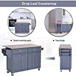 HYPE Rolling Oak Wood Drop-Leaf Kitchen Island Cart with Storage and Butcher Block - Grey