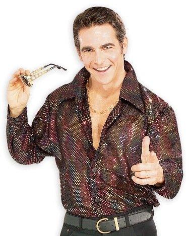 Sequin Disco Shirt - Sequin Disco Shirt New Retro 70s Adult Costume - Large