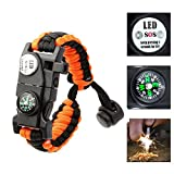 Multifunctional Multipurpose In a survival situation you want as many ways to signal rescuers as possible and survive while waiting for them!We offer different color bracelets to suit your choice. Built in whistle - Blow to audibly signal rescuers ne...