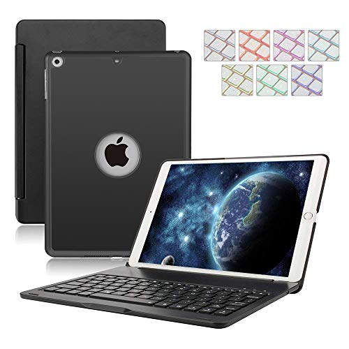 Keyboard Case for iPad 9.7,Dingrich 7 Color Backlit Wireless Bluetooth Keyboard, Hard Shell Folio Stand Cover iPad Case with Apple Sleep/Wake for 2018 (6th Gen),iPad 2017 (5th Gen),iPad Air 1(Black)