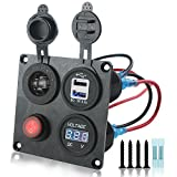 Iztor Dual 3.1A USB Charger + Digital blue Voltmeter + 12V Power Socket Outlet + ON-OFF Button Switch 4 Hole aluminum Panel for Car Boat Marine Truck RV ATV Vehicles GPS Mobile Phone