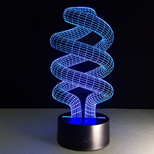 ATD DNA Spiral 3D Optical Illusion Touch Switch Colorful Gradients LED Desk Lamp Night Light