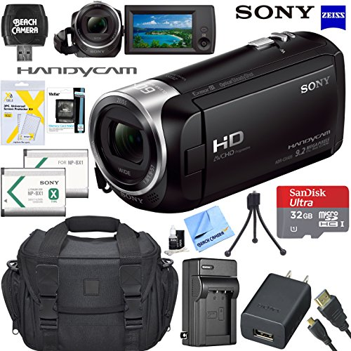 Memory 60x Card Microsd - Sony HDRCX405 HD Video Recording Handycam Camcorder Bundle with 32GB Micro SD Memory Card Mini Tripod Travel Case Spare Battery Charger HDMI Cable and More