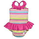 i play. Baby Girls' Ruffle Swimsuit with Built-In Absorbent Swim Diaper, Pink/Multi Stripe, 3T