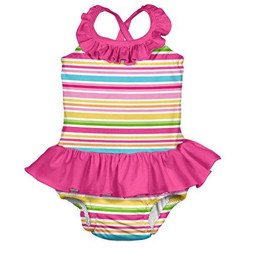 i play. Girls' One-Piece Ruffle Swimsuit with Built-In Reusable Absorbent Swim Diaper, Pink/Multi Stripe, 12 Months