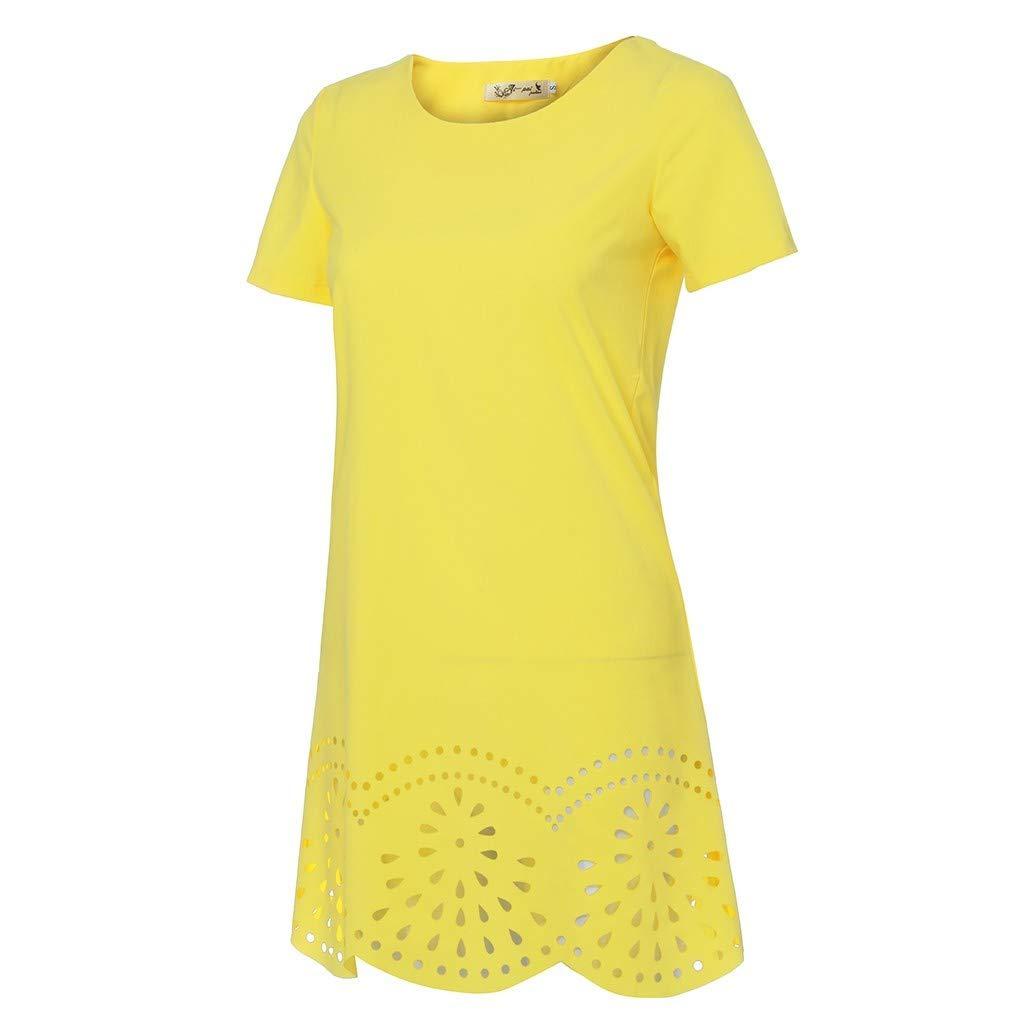 Alangbudu Womens Short Sleeve Hollow Ruffled Hem Pleated Loose Swing Casual Shift Dress Knee Length T-Shirt Dresses