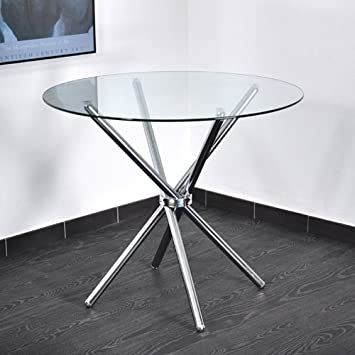 Table Ronde Transparente Solar Amazon Fr Cuisine Maison