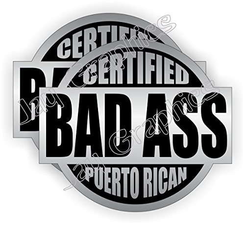 (2) Bad Ass Puerto Rican Hard Hat Stickers | Badass Motorcycle Helmet Decals | Silver Labels Toolbox Welder Motorcycle Laptop Notebook Laborer Carpenter Plumber Construction Gear
