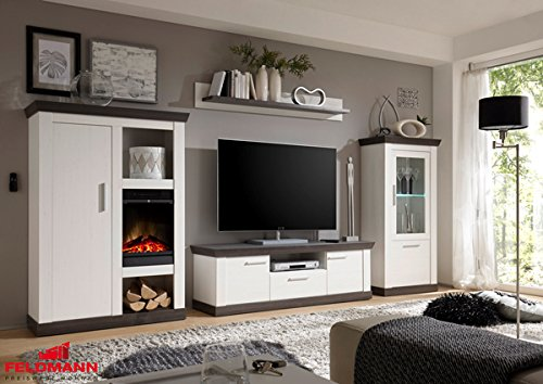 landhaus wohnwand anbauwand mit kamineinsatz 4 teilig 440929 pinie wei wenge 357cm g nstig kaufen. Black Bedroom Furniture Sets. Home Design Ideas