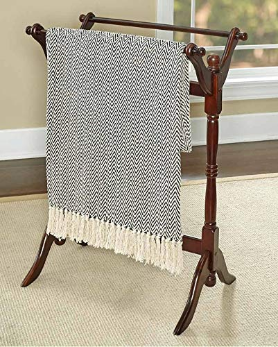 TRM Cherry Color Wood Quilt Rack Stand Blanket Holder Spindle Design by TRM