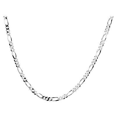 719a52cd6c7a Collar cadena pulsera tobillera Tipo Figaro corte de diamante de fina plata  de ley 925 1mm Bisutería Italiano Mujer Hombre - 15