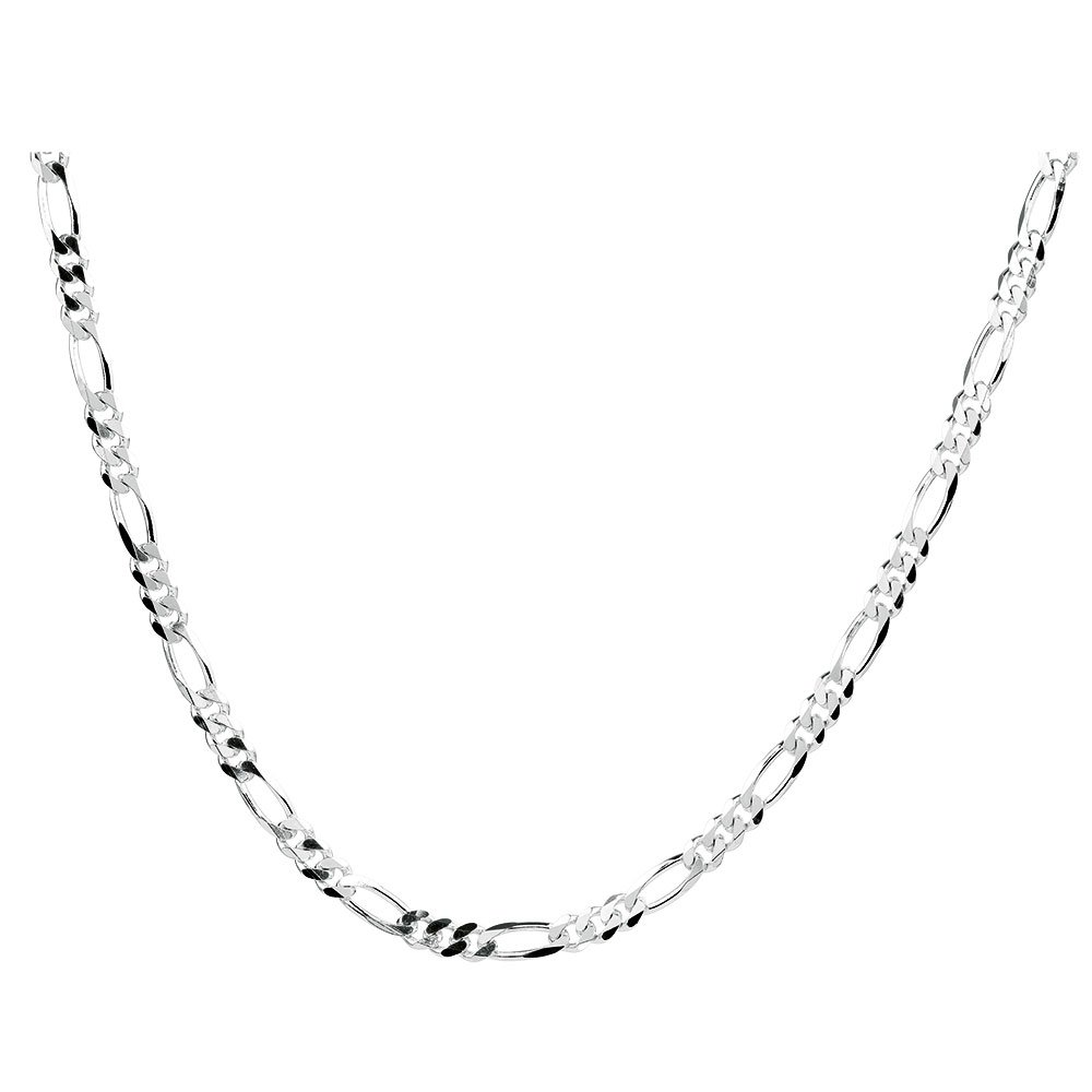1mm thick solid sterling silver 925 Italian diamond cut FIGARO curb link style chain necklace chocker bracelet anklet - 15, 20, 25, 30, 35, 40, 45, 50, 55, 60, 65, 70, 75, 80, 85, 90, 95, 100cm
