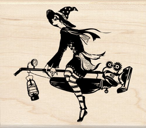Inkadinkado Wood Stamp, Steampunk Witch
