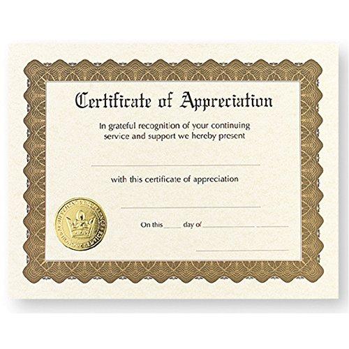 Certificate of Appreciation - Pack of - Certificates Appreciation Church