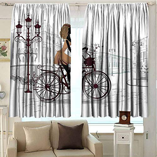 (DuckBaby Teen Room Decor Printed Curtain Young Girl in Paris Streets with Bike French Display Privacy Protection W96 xL72 Chestnut and Light Brown Pearl)