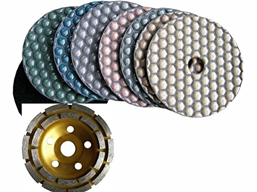 """4"""" 100mm Diamond DRY Polishing Pad 7 Pieces and 1 Piece Diamond Coarse Grinding cup wheel Granite Glass Concrete Sander Marble Counter top Free Priority SHIP"""