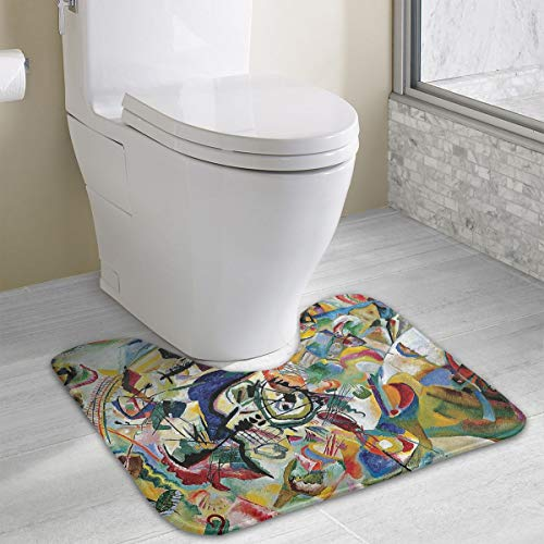 Gomop Contour Non Slip Toilet 4049 Famous Abstract Fine Art Painting of Composition VII by Wassily Kandinsky Rug Bathroom Rugs Toilet ()