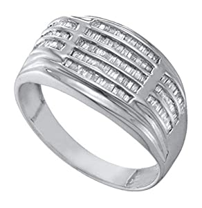 0.5 cttw 10k White Gold Baguette Diamond Mens Ribbed Wedding Anniversary Band Ring