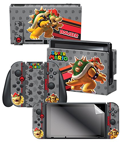 "Controller Gear Nintendo Switch Skin & Screen Protector Set, Officially Licensed By Nintendo - Super Mario Evergreen ""Bowser"" - Nintendo Switch 1"
