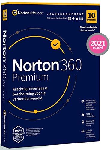 Norton 360 Premium 2021, antivirussoftware, internetbeveiliging, 10 Apparaten, 1 Jaar , Secure VPN en Password Manager…