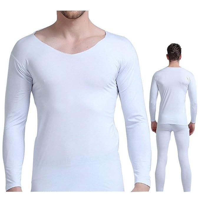 Hombre Camisetas Y Leggins Dos Piezas Ropa Interior Térmica Set Warm Figurformend V-Cuello Manga Larga Cómodo Respirable Termica Funcionales Ropa Interior ...