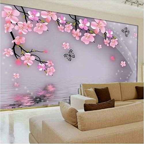 Svsnm Wand-Wohnzimmer-Sofa-Tv-Hintergrund-Rosa-Pfirsich-Blüten-Schmetterlings-Wandbildtapete 3D-420cm(W) x260cm(H)