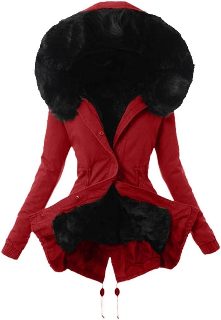 Goutique Women Fur Parka Thick Real Hooded Coat Winter Jacket Detachable Fur Trim Winter Coat Parka Warm Jacket