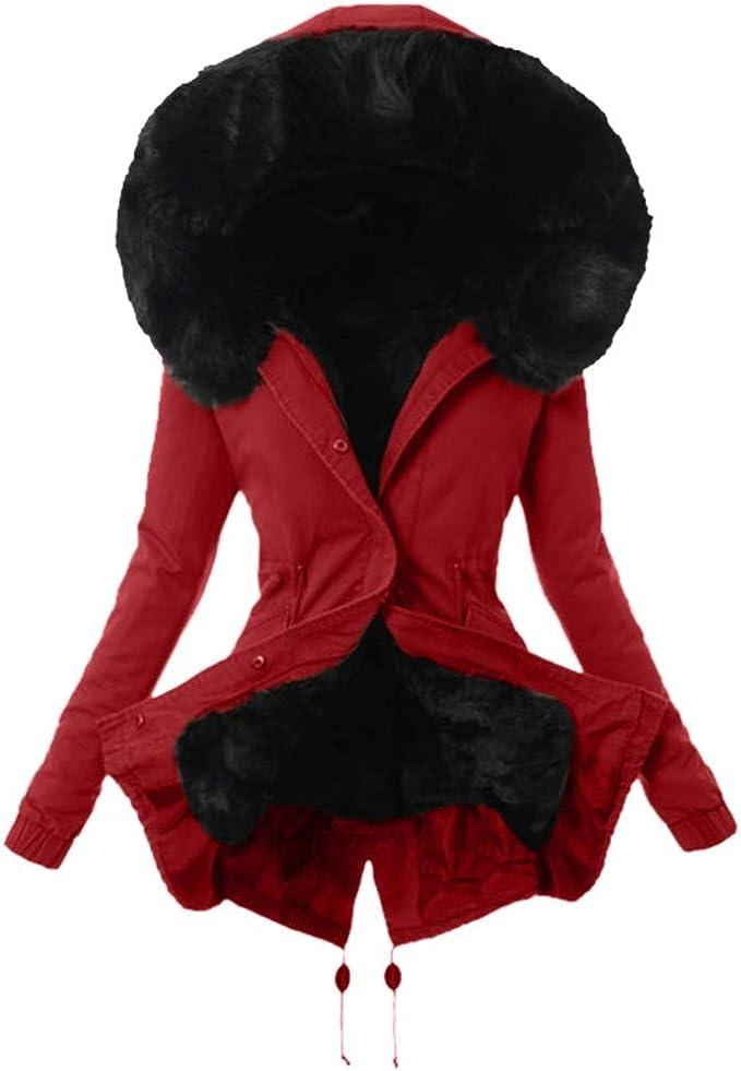Writtian Winterjacke Damen Schwarz Wintermantel Lange Daunenjacke mit Kapuze Jacke Outwear Winter Warm Trenchcoat mit Pelzkragen Parka Outwear Mäntel