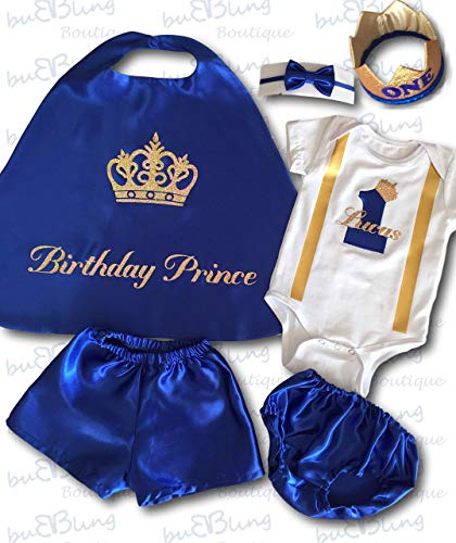 (Cake Smash Outfit Baby Boy First Birthday Prince Cape Bow tie Diaper Cover or Shorts Personalised)