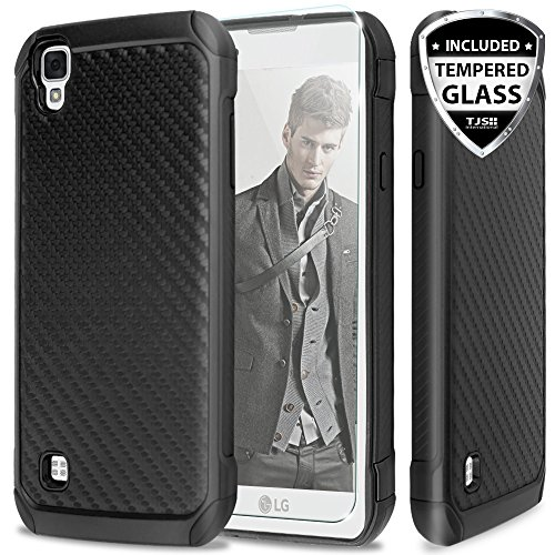 LG Tribute HD Case, LG X Style LS676 Case, LG L53B/L56VL Case with TJS Tempered Glass Screen Protector, TJS Hybrid Hard Carbon Fiber Shockproof Slim Fit TPU Armor Drop Protection Case Cover (Black)