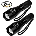 Tactical Flashlight 2 Pack - Tac Light Torch Flashlight - As Seen on TV XML T6 - Brightest LED Flashlight with 5 Modes - Adjustable Waterproof Military Grade Flashlight for Biking Camping by LETMY