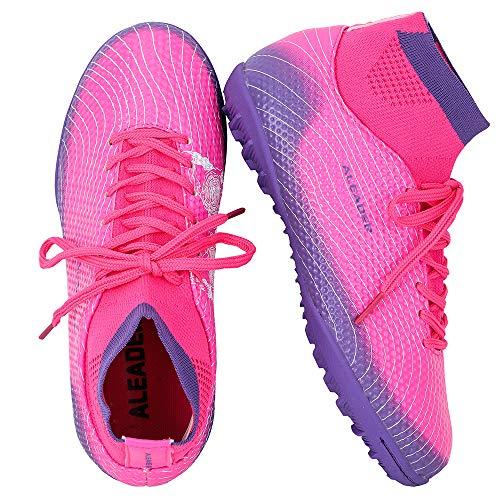 ALEADER Girls Soccer Shoes High Top Turf Football Boots for Training Fushia/Purple 5 M US Big Kid
