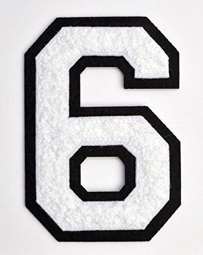 Varsity Number Patches - White Embroidered Chenille Letterman Patch - 4 1/2 inch Iron-On Numbers (White, Number 6 Patch)