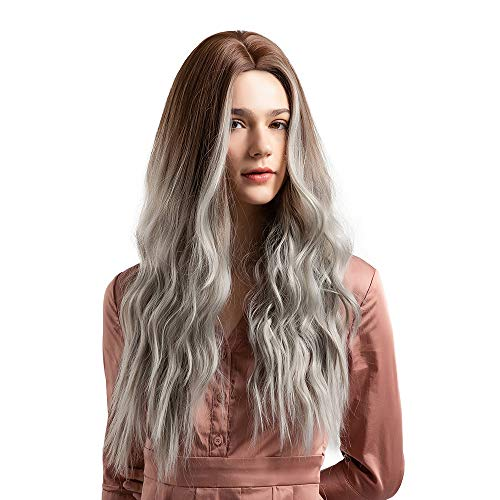 Clearance Sale Costume Wigs,Ketteb Brown Gradient Silver Grey Long Curly For Woman Artificial Hair Wigs + Free Cap -