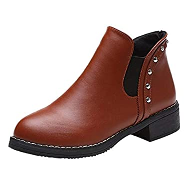 d5cb8ce1c3bd LILICAT Women s Chelsea Boots Women Rivets Flat Shoes Martain Boots Leather  Ankle Boots Round Toe Shoes Autumn Winter