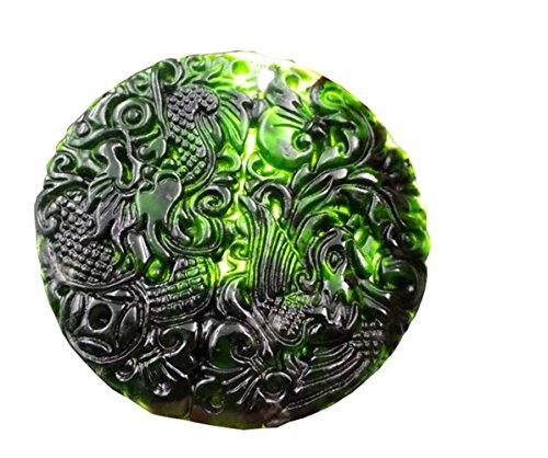 - MSFGJZM Black Jade Pendant Necklace Security Peace Car Hanging Ornament Decoration (Twin Bliss)