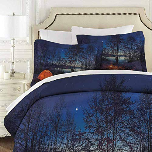 QIAOQIAOLO Camper Bedding Sets Full, Illuminated Tent in Winter Camp at Night Nature Exploration Trekking Image Lightweight Microfiber Cover Set Ultra-Soft Blue Orange Plum (Target Boys Camp Bedding)
