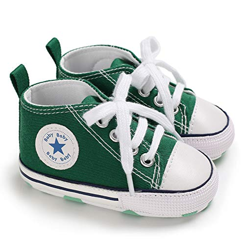 - Baby Boys Girls Star High Top Sneaker Soft Anti-Slip Sole Newborn Infant First Walkers Canvas Denim Shoes (12-18 Months, HY-Baby-G) Green