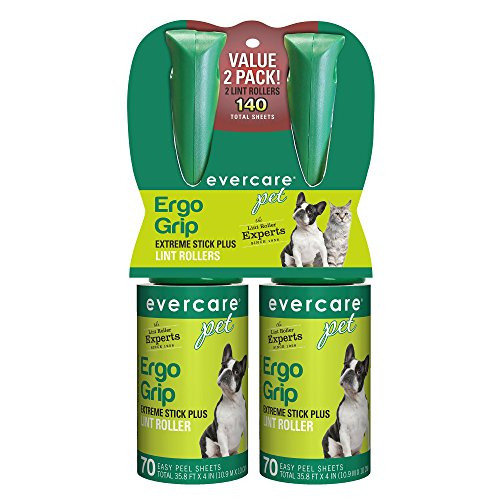 Evercare Ergo Grip 70-Layer Extra-Sticky Roller, Twin Pack Lint, Large, Natural