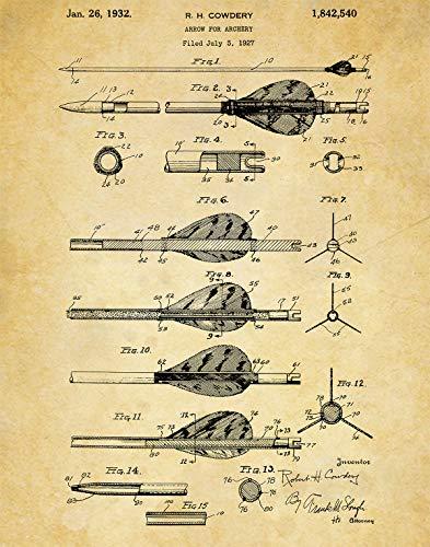 Archery Arrow Patent Wall Art Print - one (11x14) Unframed - wall art decor for an archer