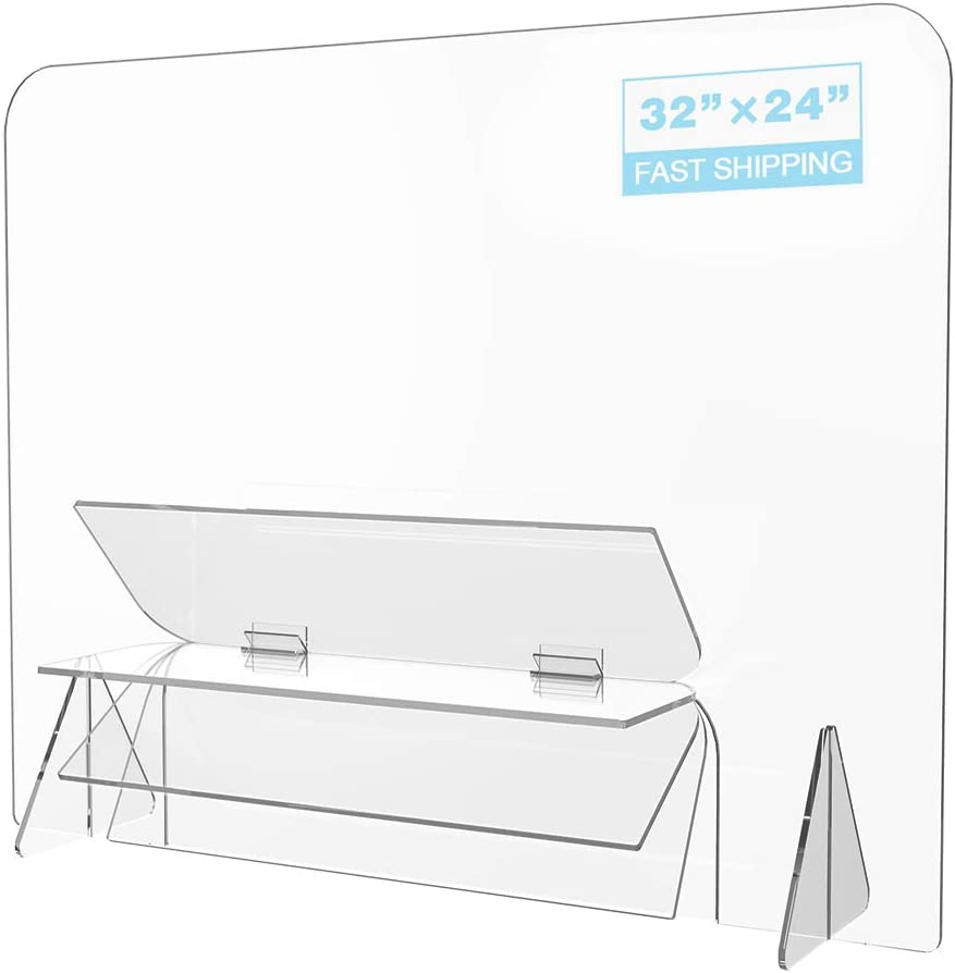 "【Upgrated】 Sneeze Guard, LeStore 32""x 24"" Inch Acrylic Reception Protection Screen Guard Barrier Panel Shield with 6.3 Inch Tall Opening for Desk, Counter, Reception Table"