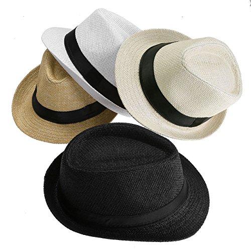 Faleto Unisex Summer Panama Straw Fedora Hat Short Brim Beach Sun Cap Classic (#011 Pack for 4 Colros)